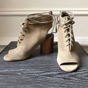 Rebecca Minkoff Nude Lace-Up Heeled Booties
